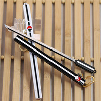 Naruto Keychain Naruto Sasuke Grass Pheasant Sword Weapon / 16 cm White Black Cartoon Grass Pheasant Sword Sheath Knife Keychain