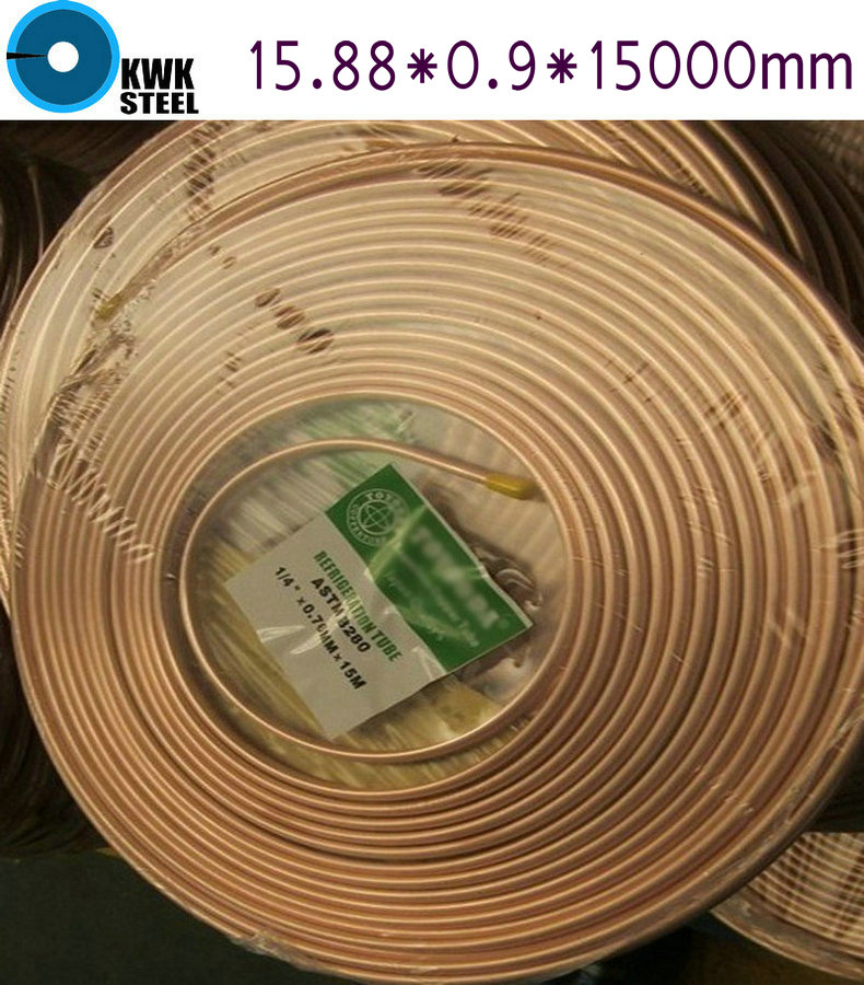 Copper Coiled Pipe Size 15.88*0.9mm 15Meter Length Soft Condition Air Condition Ferigerator Tube Refrigerant Liquid Pipe R410A  цены