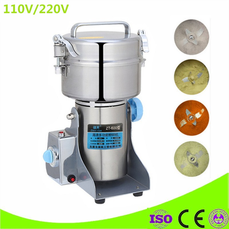 High Quality 600g Chinese Medicine Grinder Stainless Steel Household Electric Flour Mill Powder Machine Small Food Grinder high quality 300g swing type stainless steel electric medicine grinder powder machine ultrafine grinding mill machine