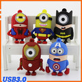 De dibujos animados Superman Batman Spiderman Iron Man Capitán América Forma USB Flash Drive pen drive memory stick pendrive Minions usb 3.0
