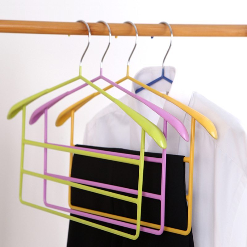 1PC Clothes Pants Storage Racks Hanging Pants Multi -Layer Hangers Multifunctional Stainless Steel Anti -Skid Magic Pants Rack