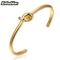 Fashion Punk Knot Cuff Bracelets For Women 24K Gold Plated Bangle Copper Bracelets Bangles Jewelry Wholesale