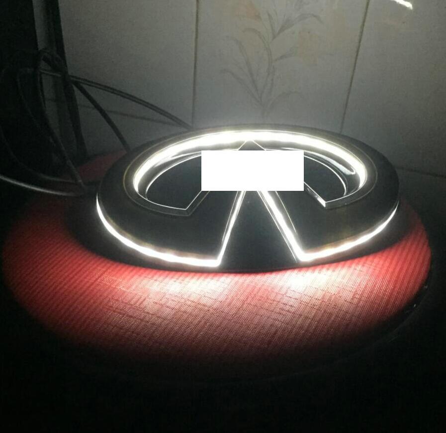 Черный автомобиль светодиодный Логотип Эмблема свет лампы для Infiniti Q50/Q50S 14 + решетка центр знак светодиодный горит звезда комплект 18,5*9,6 см б...