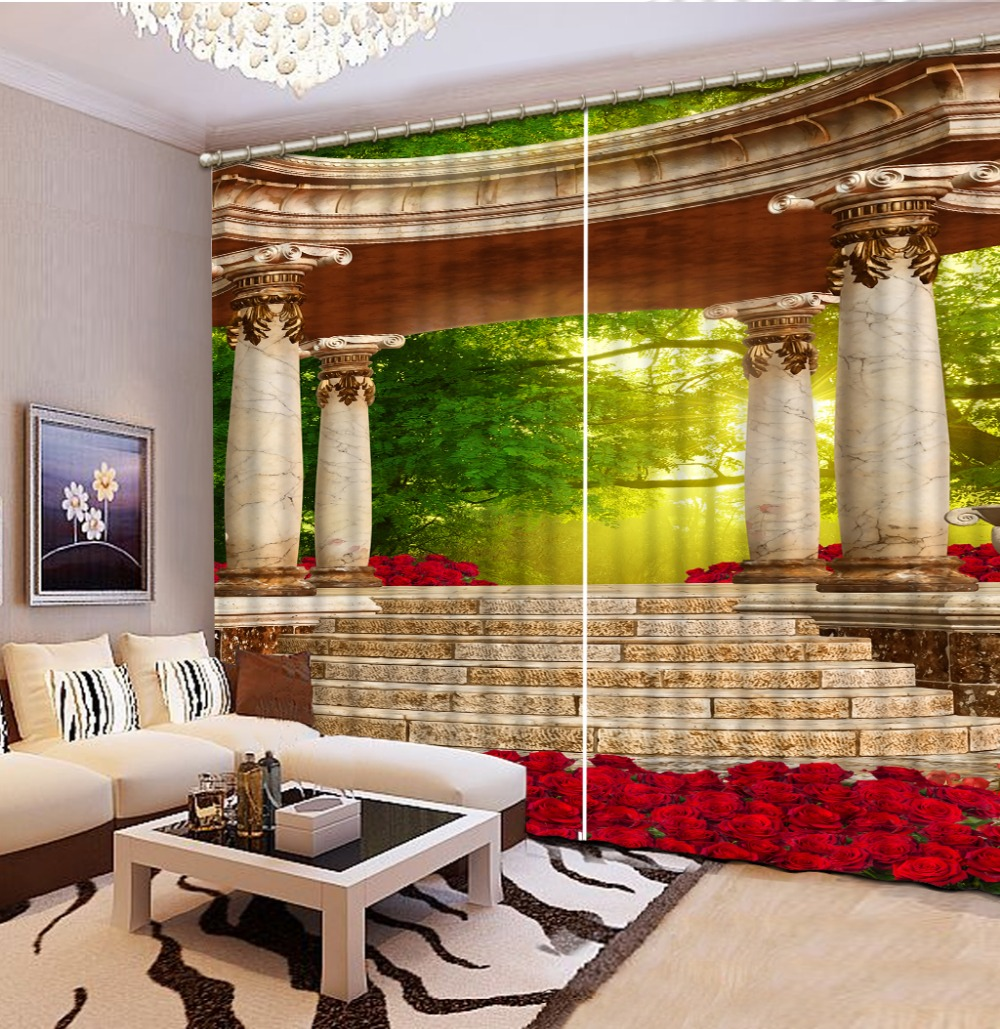 Custom 3d Curtain Continental Roman Rose Curtains For Bedroom Kitchen Curtain Fabric Valance Curtains For Living Room