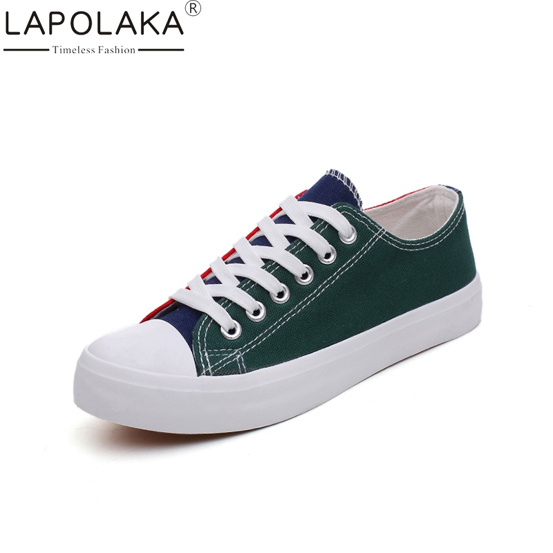 LAPOLAKA 2018 Fashion Spring Summer Vulcanized Sneaker Shoes Woman Lace Up Wholesale Woman Shoes Women Size 35-40