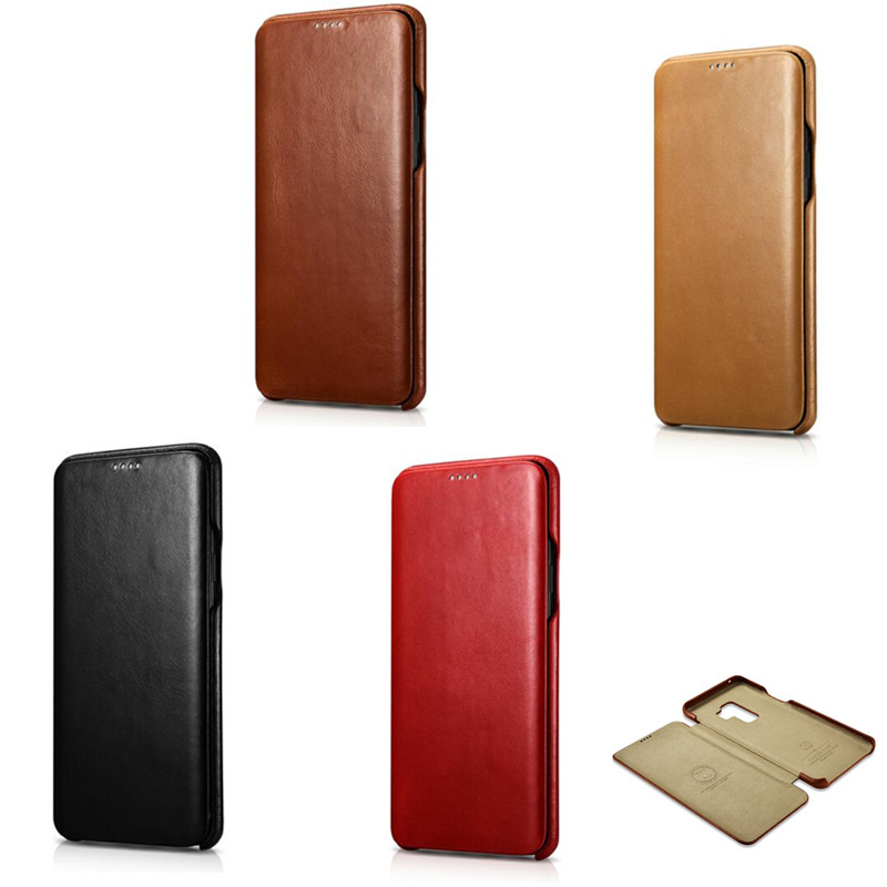 Image 3 - iCarer for Samsung Galaxy S10 S10  S9 S9  Plus Note8 Note 9  Curved Edge Vintage Series Genuine Leather Casefor samsung  galaxyleather casecase leather