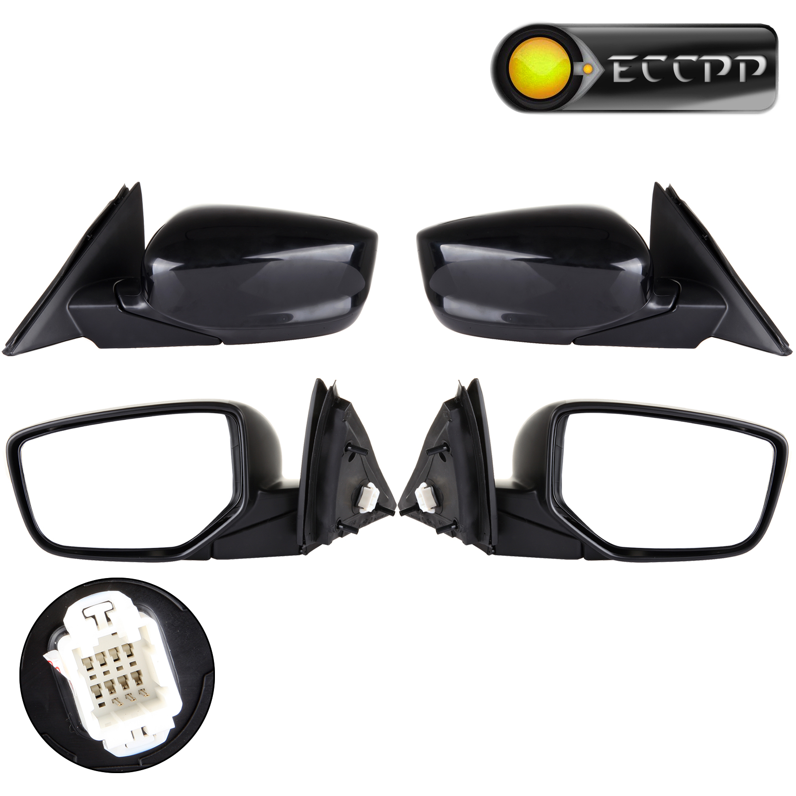 Eccpp Left Right Mirrors Pair Set For 2008 - 2012 Honda Accord Power Black Manual Folding Rear View Driver Passenger Mirrors what she left