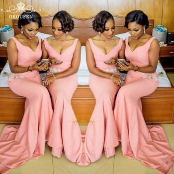 9b46812fd Mancha rosa sirena vestidos de dama de Honor con apliques largo tren de  barrido 2019 Sexy cuello V profunda vestido de dama de Honor fiesta para  las mujeres