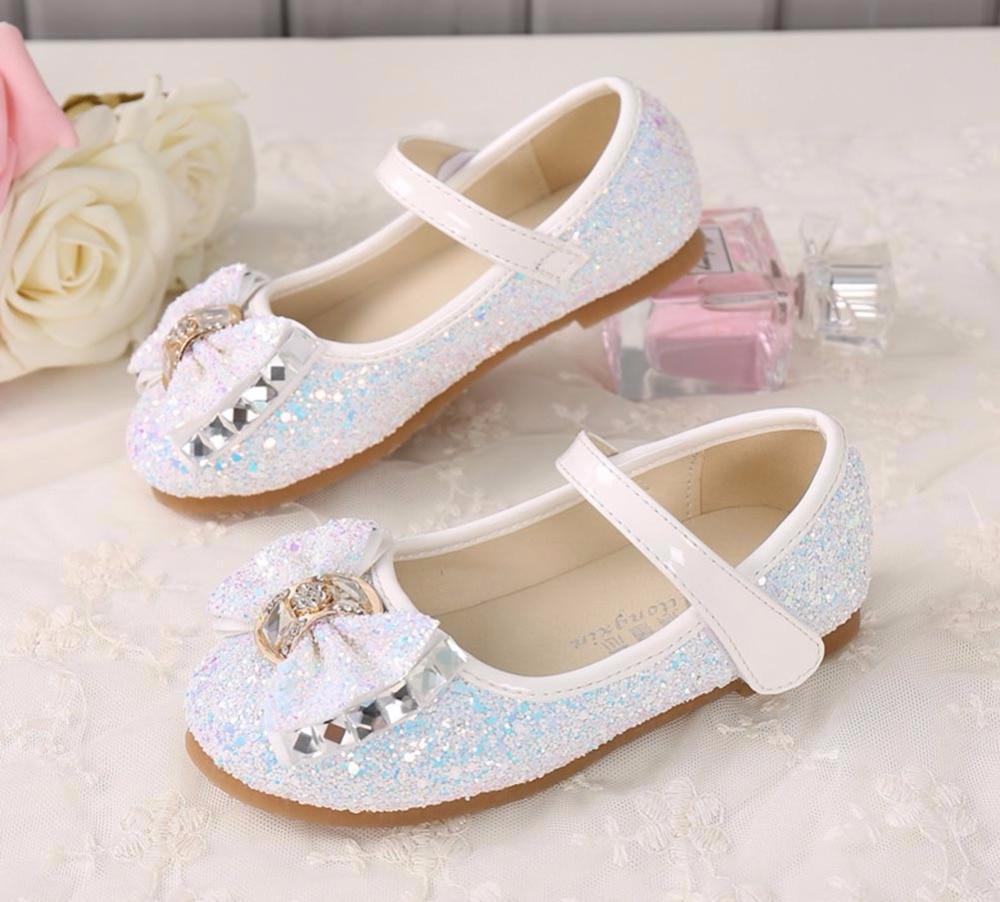 Little Girls Dress Up Shoes Balet Taniec Flat Casual Front Glitter - Obuwie dziecięce - Zdjęcie 4