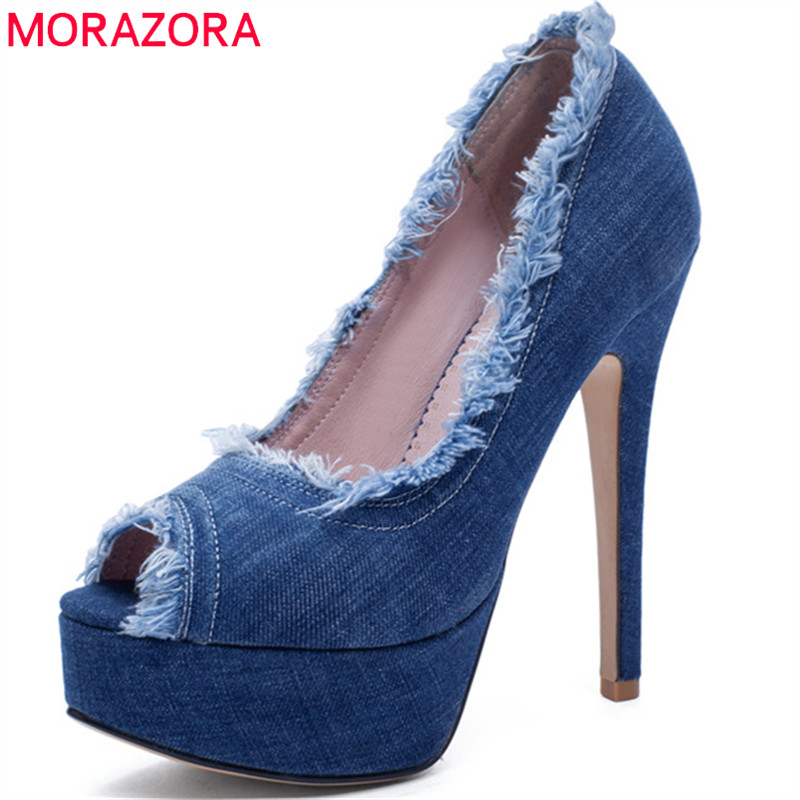 MORAZORA 2019 new style women sandals peep toe summer shoes shallow thin high heels platform shoes