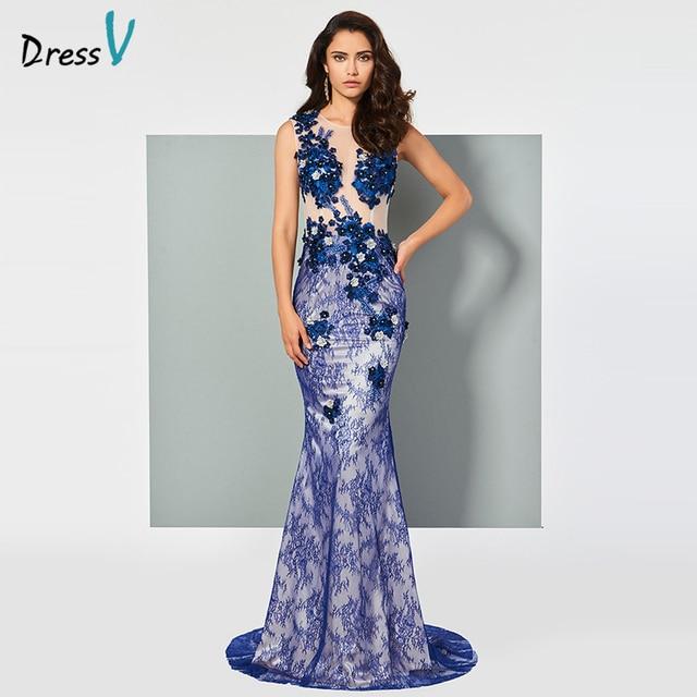 043bc97eb5 Dressv światła royal blue lace syrenka suknia scoop brush pociąg formalna  partyjna suknia ślubna zipper up