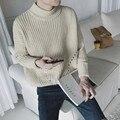 2016 Mens Suéteres de Cuello Alto Sólido hombres verdes Jerseys de Punto Jersey Hombre Vestido Slim Fit Suéter Para Hombres Plus XXL