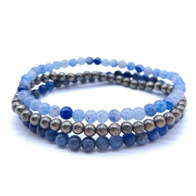 Natural Stone Bead Bangle Sets of 3 pcs Yoga Bracelet Women Girl Jewelry Pyrite Blue Aventurine Sodalite Stones 18 18 5 cm 8 in Strand Bracelets from Jewelry Accessories