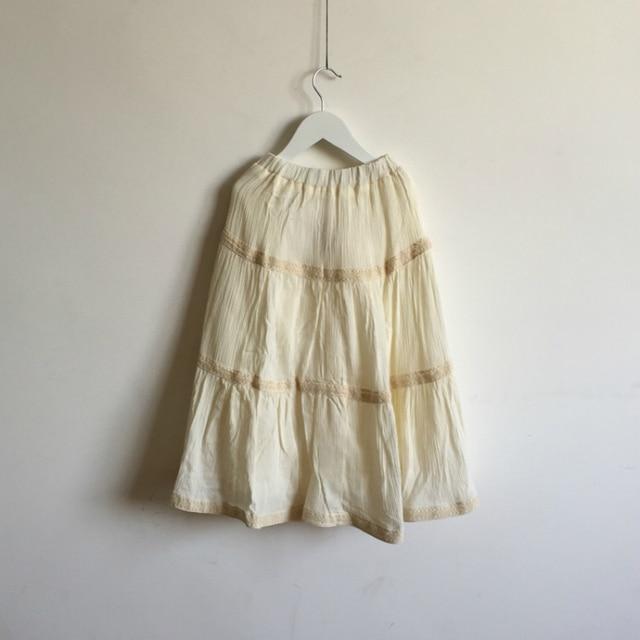 New 2017 Spring And Summer Children's Skirt Girls Half-length Big Skirt Bohemian Wind Double Beige Princess Skirt 3-15 Years Old