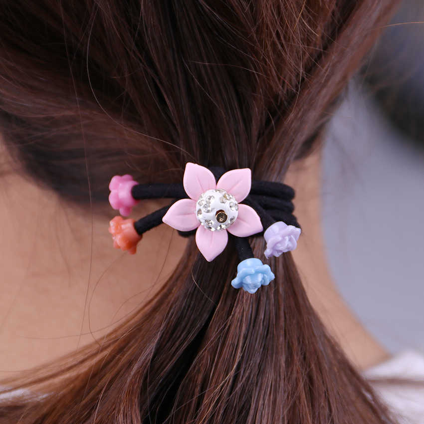 1PC Fashion Women Hair Accessories Cute Red Colored Beads Elastic Hair Bands Girl Hairband Hair Rope Gum Rubber Band