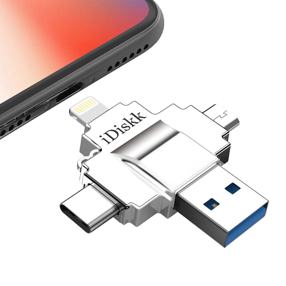 IDISKK D'origine Lecteur Flash Rapide Vitesse De Stockage Externe 4 en 1 Clé usb pour Apple/Android/PC/Tablet 32 GB USB 3.0 64 GB Flash