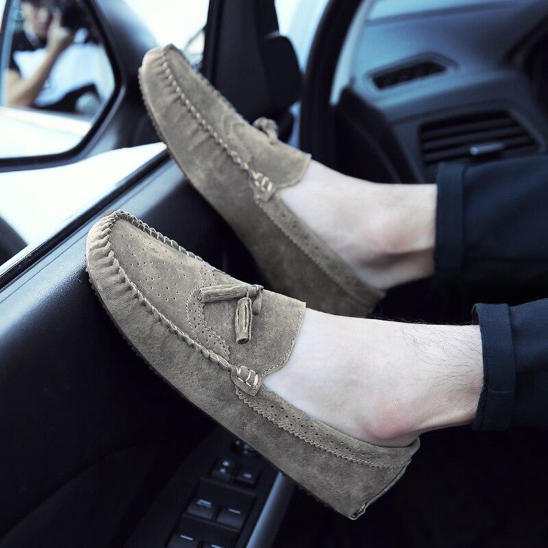 9399f678754 JKPUDUN Suède Heren Instappers Mocassins Designer Mannen Italiaanse Casual  Schoenen Hoge Kwaliteit Ademend Flats Voor Mannen Bootschoenen in JKPUDUN  Suède ...