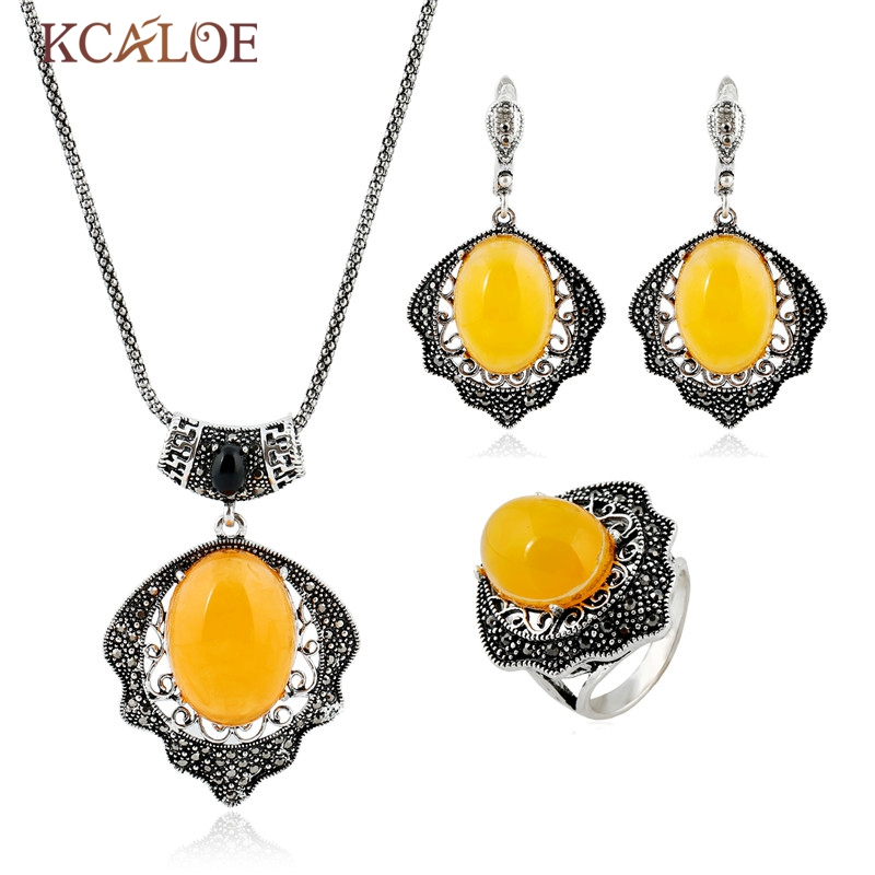 KCALOE  Vintage Jewelry Set  2016 New Antique Silver Color Stone Necklace Earring Ring Set Statement Yellow Stone