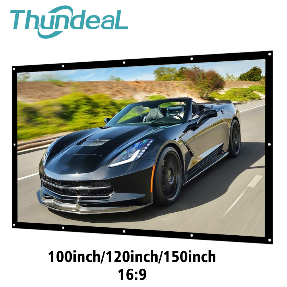 ThundeaL 16:9 100 120 150 Inch Projection Projector Screen Canvas White Curtain Screen 3D Film Portable Wall Mounted Projecting
