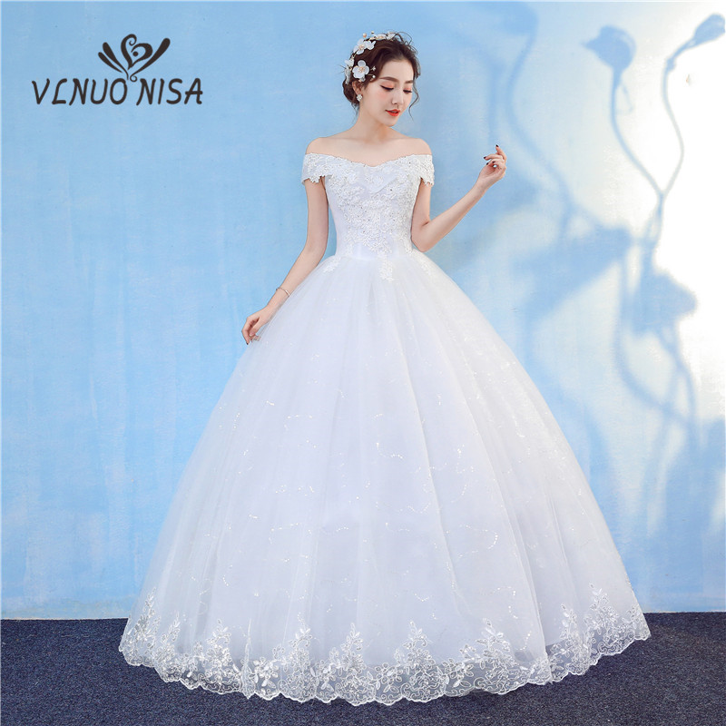 Sweetherat Short Sleeve Wedding Dresses 2018 New Korean Vintage Lace Applique Floral Print Sequined Gown Bridal Vestido De Noiva