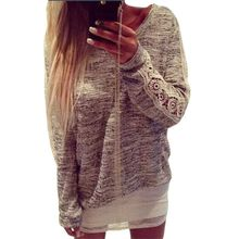 Women Casual Crew neck Long Sleeve Lace Floral Jumper Pullover Tops