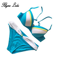 Rhyme Lady Sexy Bikini Set 2018 Women Bandeau Bikini Swimsuit Push Up Bandage Swimwear For Female