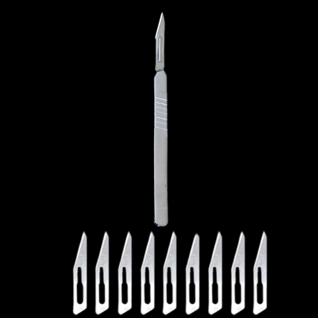 Купить с кэшбэком Hand Tool Non-Slip Metal Scalpel Knife Tools Kit Cutter Engraving Craft knives + 10pcs Blades Mobile Phone PCB DIY Repair