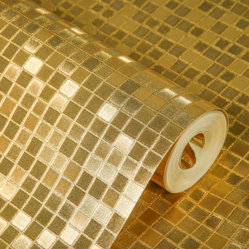 PVC Waterproof Gold Foil Wallpaper Rolls Mosaic Lattice Wall Paper ...