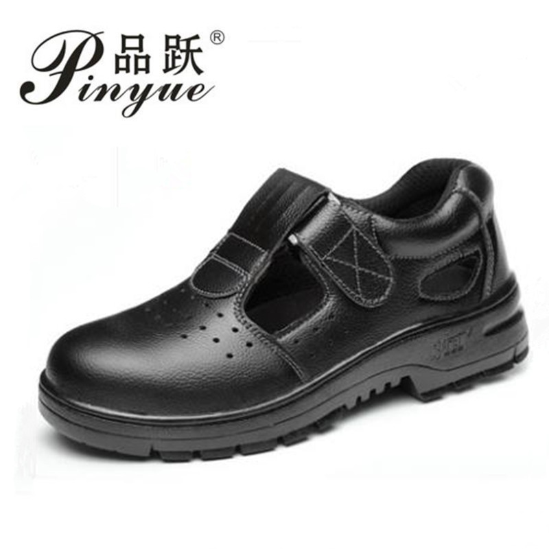 men fashion large size black breathable steel toe steel toe cap work safety summer shoes soft leather sandals anti-puncture shoe