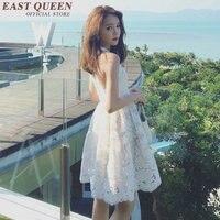 sweet style white lace sundress Sleeveless crochet summer sundresses for woman cute summer sundresses KK381 Q