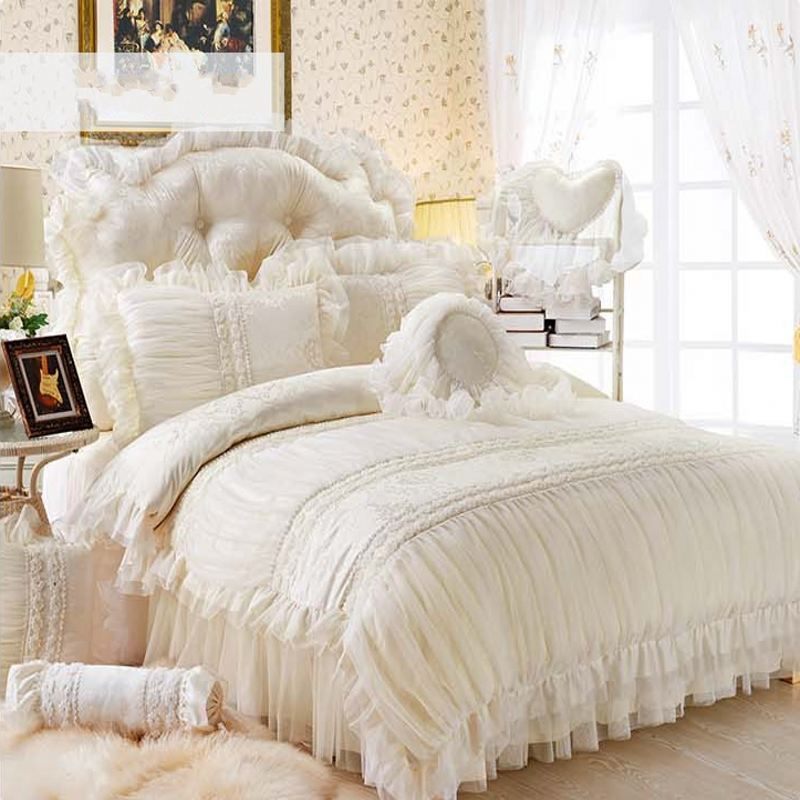 Beige Lace Princess Quilt Duvet Cover King Queen 4 6pcs