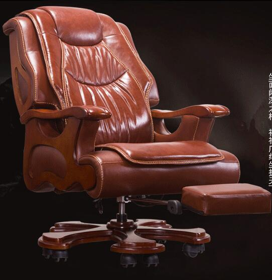 Luxurious Office Chair Swivel Chair Solid Wood Boss Chair Dermal Big Class Chair Lift Massage Can Lie Cowhide Computer Chair.