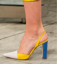 Yellow Colorblock Pumps Women Shoes Leather Dress Pump Woman Genuine High Heel Slingbacks Sandals Runway Lady