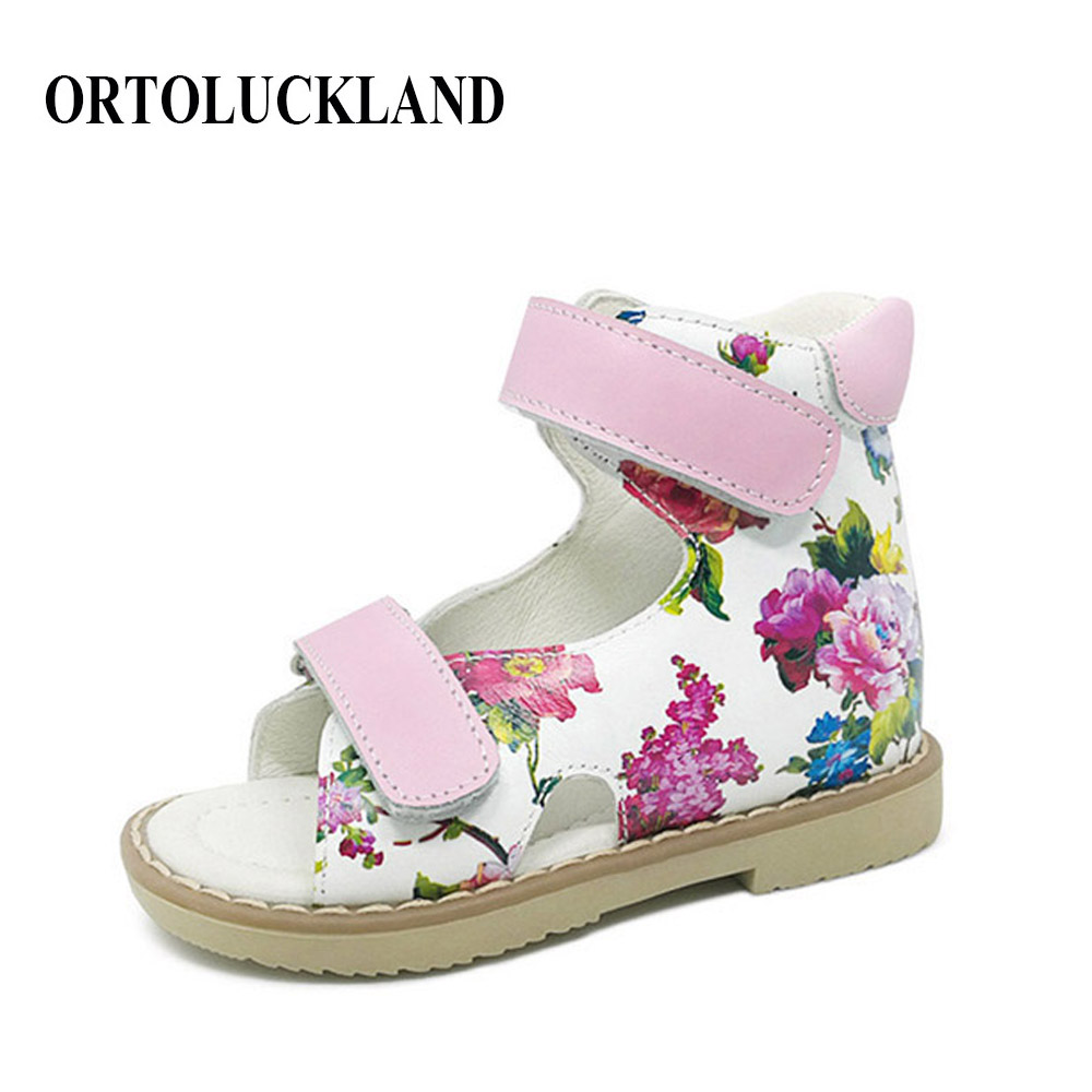 55332b0e4 Children Pink Flower Printing Genuine Leather Sandals Orthopedic Shoes Kids  Girls Summer Sandals Baby Shoes Hook