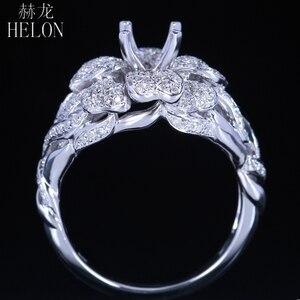 Image 2 - Helonリアル925スターリングシルバーラウンドカット5ミリメートルセミマウントパヴェ100%天然0.7ctダイヤモンド女性トレンディ花ファインジュエリーリング