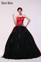 2017 Red Black Ball Gown Evening Dresses with Sweetheart Neckline Ruffles Beaded Floor Length Party Prom Gowns