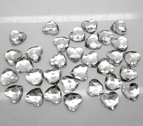 200Pcs Silver Acrylic Heart Decoration Crafts Flatback Cabochon Scrapbooking Embellishments Beads Diy Accessories