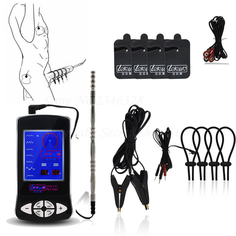 Electric Shock Kit Nipple Clamps Massage Pad for Couples Electro Shock Tools Stimulation Penis Ring Penis Plugs Sex Toys for Men hot electric shock medical themed toys kit penis rings massage pad anal butt vagina plug electro shock sex toys for men couples