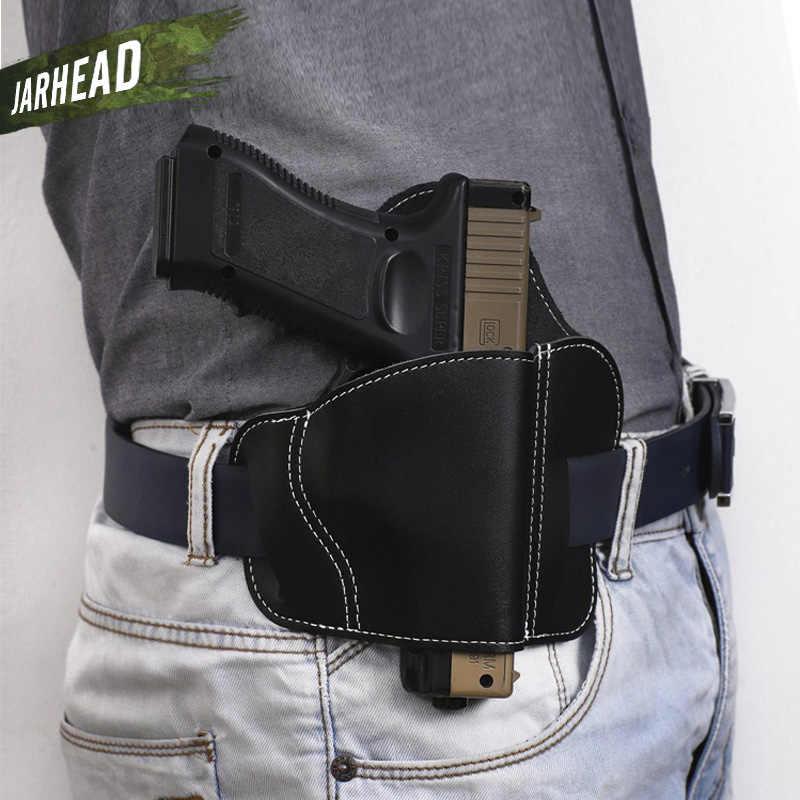 Inek derisi taktik tabanca tabanca kılıfı için Fit evrensel silah M & P SHIELD Glock Gun deri askeri asker kemeri kılıfı