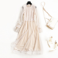 2018 Spring New Temperament Lace Stitching Beautiful Elegant Dress Pleated Gauze Color 1710
