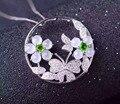 Natural pingente de jade branco S925 prata Natural gemstone Colar Pingente de moda de Luxo borboleta flor mulheres presente da jóia