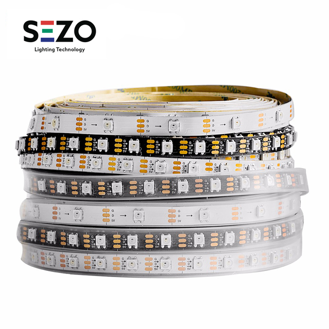 Bande lumineuse RGB Led, ruban déclairage WS2812B, 1m/2m/5m, 30/60/100/144 diodes/m, adressable individuellement, noir/blanc, WS2812ECO IC DC5V