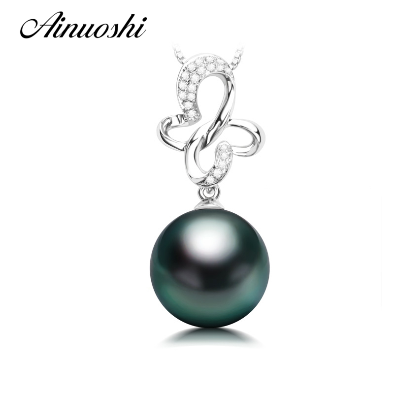 AINUOSHI 925 Sterling Silver Butterfly Shaped Necklace Pendants Black Cultured Pearl Tahiti 10mm Round Pearl Women Pendants GiftAINUOSHI 925 Sterling Silver Butterfly Shaped Necklace Pendants Black Cultured Pearl Tahiti 10mm Round Pearl Women Pendants Gift
