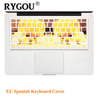 EU UK Spanish Alphabet Colorful Keyboard Cover Silicone Stickers Protector For MacBook Air 13 MacBook Pro