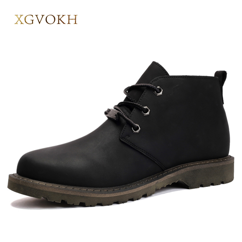 Men Shoes Spring/Autumn Desert Leather Ankle Boots Man Fashion Black Boots XGVOKH Brand Classic Popular High Top Casual Shoes new arrival patent pu leather men fashion shoes spring autumn summer ankle boots shoes men high top men boots flats shoes
