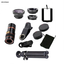 Girlwomanスマート電話レンズ携帯電話望遠鏡iphone × 12xズームxiaomi屋外カメラtelescopioパラcelular s9レンズ