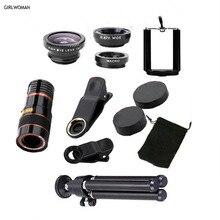 Girlwoman kit telescópio do telefone celular lente inteligente para o iphone x 12x zoom xiaomi câmera ao ar livre telescopio para celular s9 lente