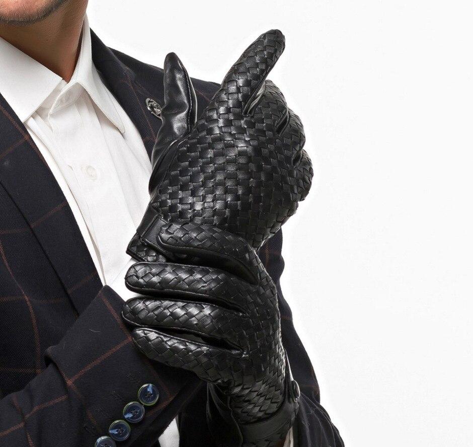 Gants de luxe en peau de chèvre à la main pour hommes avec doigt complet hiver en cuir véritable écran tactile téléphone boucle bouton gants 3 couleurs