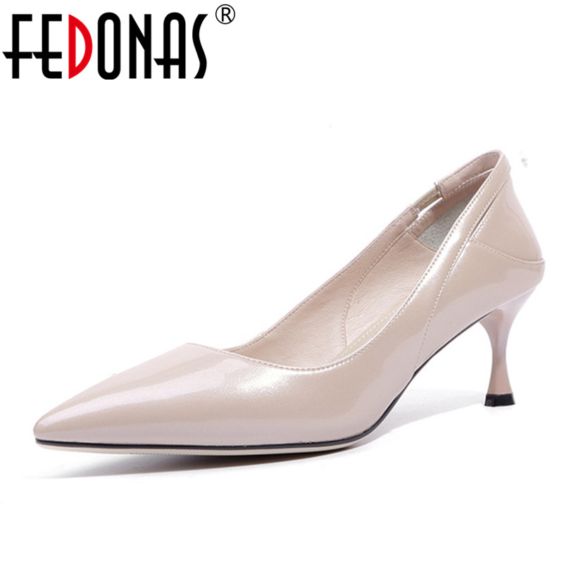 FEDONAS New Fashion Shoes Woman Sexy Patent PU Leather Pumps Pointed Toe Elegant Office Pumps New Spring Autumn Wedding Shoes платье sk house sk house sk007ewatcw7