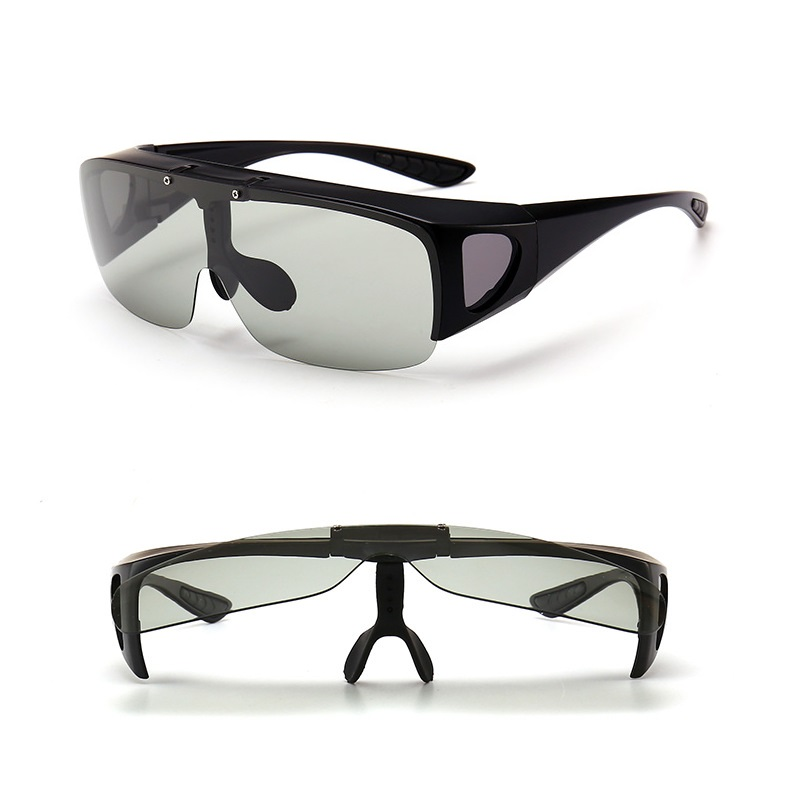 a590342c682 Vazrobe Photochromic Clip on Sunglasses Men Women Fit Over Eyeglasses Frame  Day Night Driving Goggles Flip Up Lenses Anti Glare-in Sunglasses from  Apparel ...